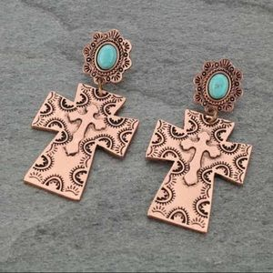 Natural Stone Faux Turquoise Post Earrings Cross